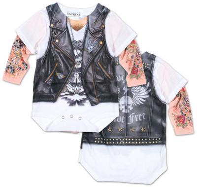 Infant: Long Sleeve Tattoo Biker Costume Romper