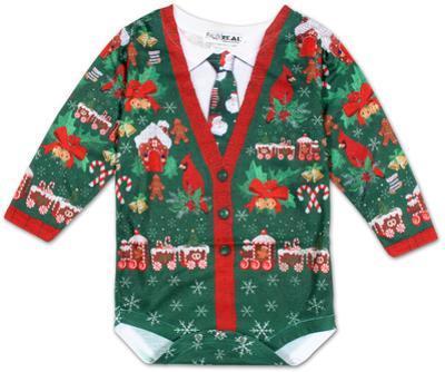 Infant: Ugly Xmas Cardigan Long Sleeve Romper