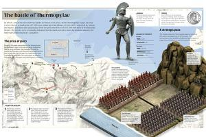 Infographic About the Battle of Thermopylae, in the Year 480 B.C. in the Current Greece