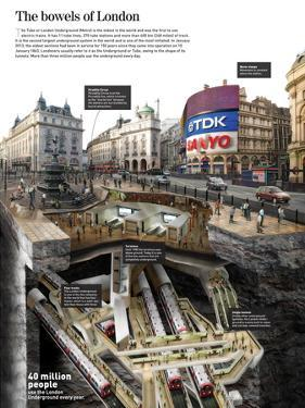 Infographic on the Metro or Tube of London, and the Underground Structure of the City
