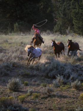 Cowboys Rounding Up Horses by Inga Spence