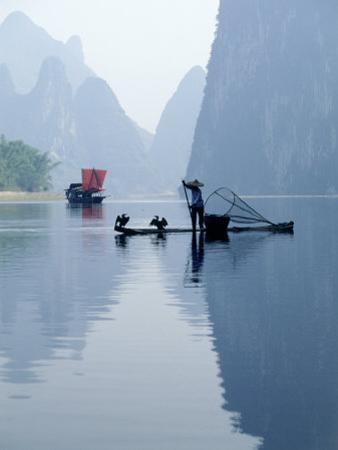 Fishing with Cormorants, Li River, China by Inga Spence