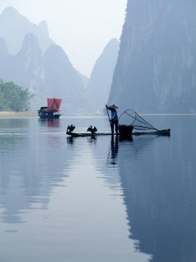 Fishing with Cormorants, Li River, China by Inga Spence