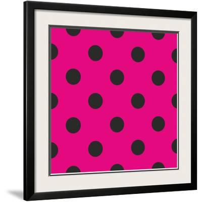 Pattern or Texture with Black Polka Dots on Neon Pink Background by IngaLinder
