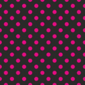 Pattern or Texture with Neon Pink Polka Dots on Black Background by IngaLinder