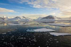 Antarctica, Near Adelaide Island. the Gullet. Ice Floes at Sunset by Inger Hogstrom