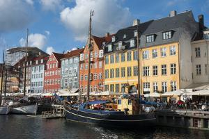 Crowds at Cafes and Restaurants, Nyhavn, Copenhagen, Denmark by Inger Hogstrom