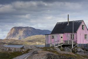 Greenland, Itilleq. Worn pink house. by Inger Hogstrom