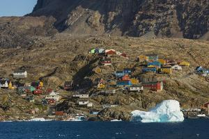 Greenland, Uummannaq. Colorful houses dot the rocky landscape. by Inger Hogstrom