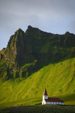 Iceland. Vik I Myrdal. Church on the Hill by Inger Hogstrom