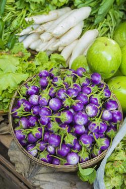Myanmar. Bagan. Nyaung U. Market. Eggplant for Sale in the Market by Inger Hogstrom