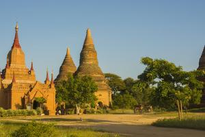 Myanmar. Bagan. Red Brick Temple Glows in the Late Afternoon Light by Inger Hogstrom