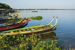 Myanmar. Mandalay. Amarapura. Taungthaman Lake. Colorful Boats by Inger Hogstrom