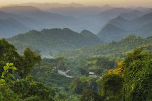Myanmar. Shan State. Sunset over the Ridges of Haze-Filled Hills by Inger Hogstrom