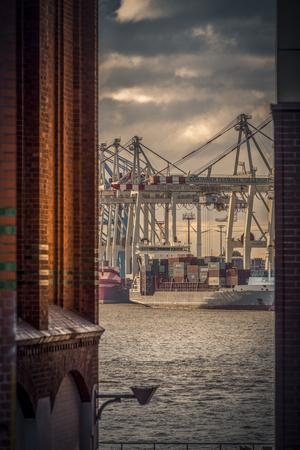 Germany, Hamburg, Elbe, Harbor, St. Pauli, Fish Market, Great Place, Container Terminal