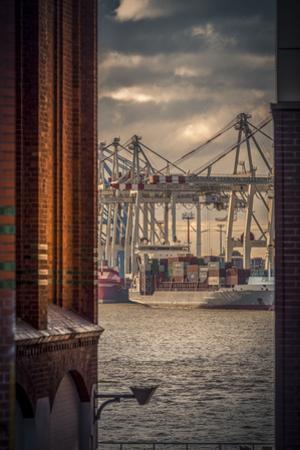Germany, Hamburg, Elbe, Harbor, St. Pauli, Fish Market, Great Place, Container Terminal by Ingo Boelter