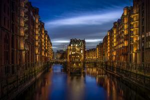 Germany, Hamburg, Speicherstadt (Warehouse District), Moated Castle, Night, Night Shot by Ingo Boelter