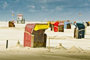 Germany, Schleswig-Holstein, Amrum, Sandy Beach, Sand Bank, Kniepsand, Beach Chairs by Ingo Boelter