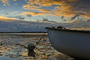 Germany, Schleswig-Holstein, Amrum, Sandy Beach, Sand Bank, Kniepsand, Boat, Low Tide by Ingo Boelter