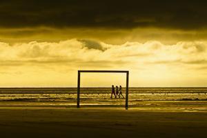 Germany, Schleswig-Holstein, Amrum, Sandy Beach, Sandbank, Kniepsand, Stroller, Evening Mood by Ingo Boelter