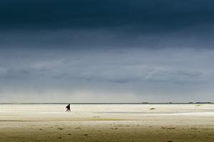 Germany, Schleswig-Holstein, Amrum, Sandy Beach, Sandbank, Kniepsand, Stroller by Ingo Boelter