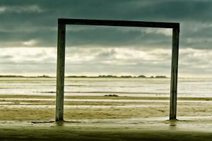 Germany, Schleswig-Holstein, Amrum, Sandy Beach, Sandbank, Kniepsand, Wooden Gate by Ingo Boelter
