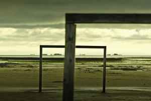 Germany, Schleswig-Holstein, Amrum, Sandy Beach, Sandbank, Kniepsand, Wooden Gates by Ingo Boelter