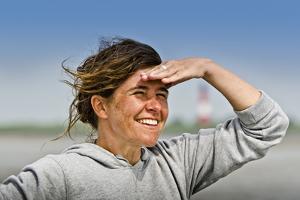 Germany, Schleswig-Holstein, Pellworm, Mud Flats, Wadden Sea, Woman, View, Portrait by Ingo Boelter