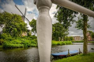 The Netherlands, Alkmaar, Canal, Shore, Mill by Ingo Boelter