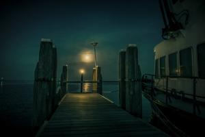 The Netherlands, Frisia, Terschelling, Harbour, Night, Moon by Ingo Boelter