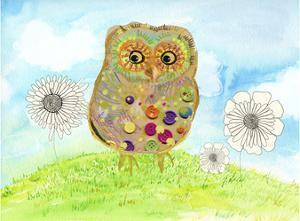 Owl & Flowers by Ingrid Blixt
