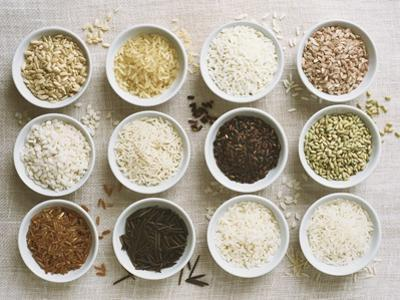Various Types of Rice in Small Bowls