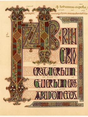 Initial Page from the Lindisfarne Gospels, Late 7th or Early 8th Century