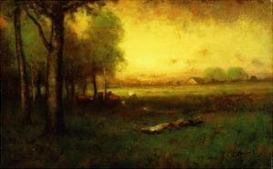 Cows Grazing at Sunset by Inness George
