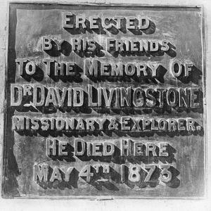 Inscription on the Monument to David Livingstone, Zambia, Africa, Late 19th or Early 20th Century