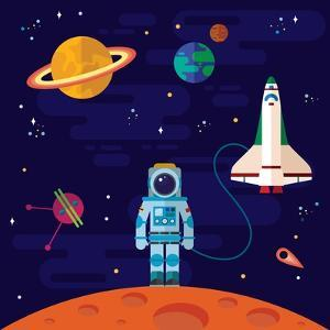 Vector Flat Space Elements with Spaceship and Planets. by Inshpulya