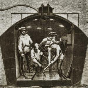 Inside the Nautilus, Diving Bell Tested in New York in 1857 by Hallet and the Count of Rottermunde,
