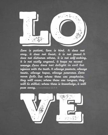Corinthians 13:4-8 Love is Patient - Chalkboard by Inspire Me