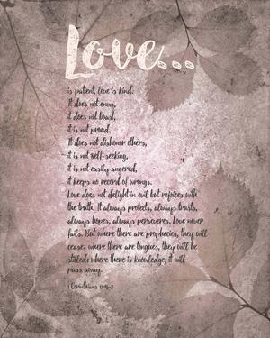 Corinthians 13:4-8 Love is Patient - Grey Leaves by Inspire Me