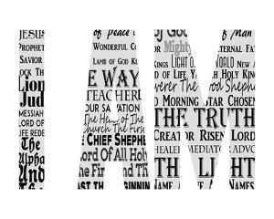 Names of Jesus I AM Silhouette White by Inspire Me