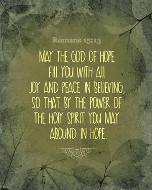 Romans 15:13 Abound in Hope (Green) by Inspire Me