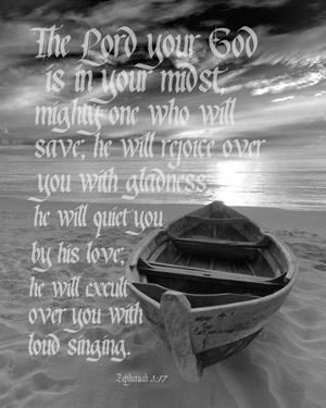 Zephaniah 3:17 The Lord Your God (Beach Black & White) by Inspire Me