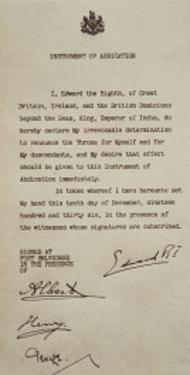 Instrument of Abdication, 10th December 1936