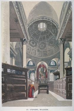 Interior Looking East, Church of St Stephen Walbrook, City of London, 1845