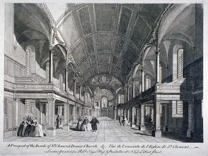 Interior of St Clement Danes Church, Westminster, London, 1751