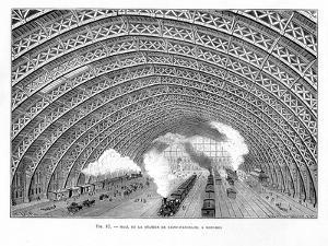 Interior of St Pancras Railway Station, London, 1865