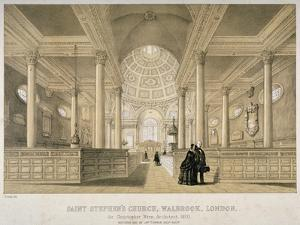 Interior View Looking East, Church of St Stephen Walbrook, City of London, 1851 by J Graf