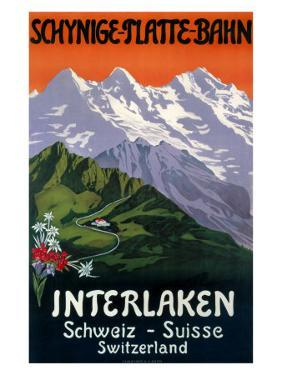 Interlaken Swiss Railway Poster, circa 1930s