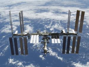 International Space Station in Orbit Above the Earth