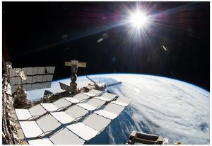 International Space Station over Earth Photo Poster